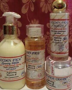 Golden Face Whitening Beauty Lotion+Strong Lightening Serum+Face cream+Oil 4pcs