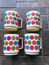 Lot of 4 Vintage Deka Plastics Retro 1969 Cups Mugs Schappelli Polkadots