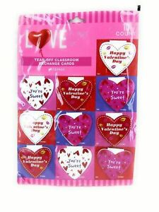 Love Tear Off Classroom Valentine Exchange Cards Notepads 10 Count