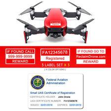 DJI Mavic Air - Red - FAA UAS Registration ID Card + Labels for Hobbyist Pilot