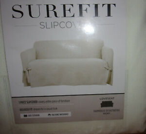 Surefit Relaxed Fit Loveseat Slipcover - Farmhouse Basketweave Ivory - NEW