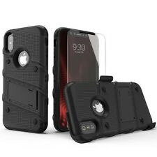iPhone Xs Max BOLT Case Shockproof Cover With Holster + Tempered Glass