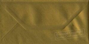 Metallic Gold DL Envelope 110mm x 220mm 100gsm Gummed Gold Business DL Envelopes