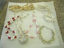 VINTAGE LOT of 5 WHITE SUMMER Necklaces - Some Long