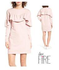 NWT Love Fire Baby Pink Long Sleeve Ruffle Tunic Dress Size Large