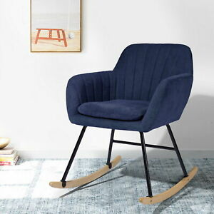 Rocking Chair Fabric Nap Seat Wood Lounge Armchair Reading Chair Room Furniture