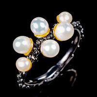 Handmade Natural Pearl 925 Sterling Silver Ring Size 7.25/R125527
