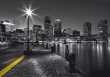 CITY RIVER EMBANKMENT Photo Wallpaper Wall Mural BLACK & WHITE 360x254cm HUGE!
