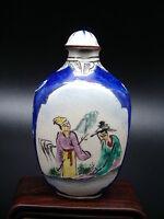 Antica Tabacchiera Porcellana Dipinto A Mano Fiuto Bottiglia