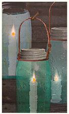 Primitive Country Blue Green Mason Canning Jar Lantern Candle Lighted Picture