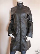 ITALIAN BLACK LONG LEATHER COAT by EATILIO   UK 12    £479  BNWT