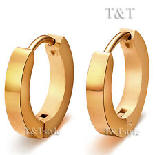 T&T Stainless Steel 18K Gold GP 3mm Hoop Earrings Extra Large 20mm EH01J(3x16)