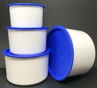 Tupperware Topper Canister Set Of 4 White + Blue One Touch Seals New