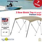 3 Bow Bimini Top Premium Range 61 - 66 Width 6ft Long Sand With Rear Poles
