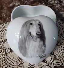 Afghan Hound Tonal Grey Image On Heart Shaped Porcelain Keepsake Box, U.S.A.