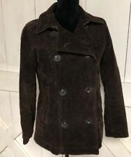 GAP Women's Size Small Corduroy Peacoat Jacket Brown Cotton Lined Button Front