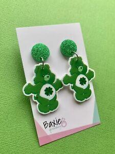 Green Good Luck Care Bear Style Dangle Earrings, Surgical Steel Stud, Acrylic