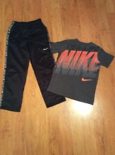 Nike Dri Fit Boys Youth Athletic Therma Fit Pants And Tshirt Black Gray Size L