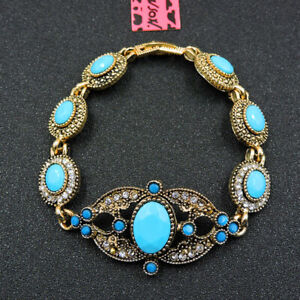 Betsey Johnson Fashion Jewelry Noble Blue Gemstone Bangle Bracelet