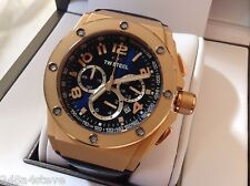 MENS TW STEEL Chrono calander tachymeter rose gold blue leather timepiece CE4003