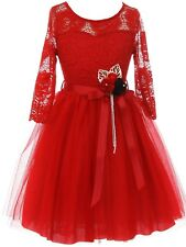 Red Floral Lace Top Tulle Sash Flower Wedding Formal Party Flower Girl Dress