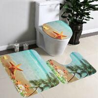 US 3Pcs Bathroom Non-Slip Sun Beach Pedestal Rug + Lid Toilet Cover + Bath Mat
