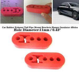 2x 11mm 4-Hole Car Auto Rubber Exhaust Tail Pipe Mount Brackets Hanger Insulator