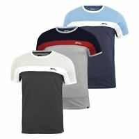 Mens T-shirt Contrast Slazenger Crew Neck  Tee  Top Dominic