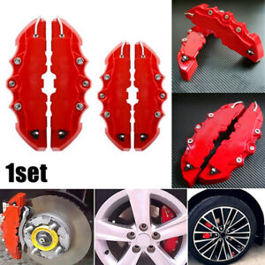 4PCS Red 3D Car Universal Disc Brake Caliper Covers Front Rear Kit Accessories