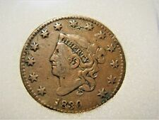 1830 LARGE CORONET Cent in nice VF++ with good color! Beautiful Coin Tough date!