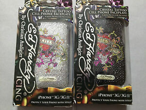 GENUINE ED HARDY BLING BACK CASE COVER FOR APPLE iPHONE 3 3GS -LOVE KILLS SLOWLY