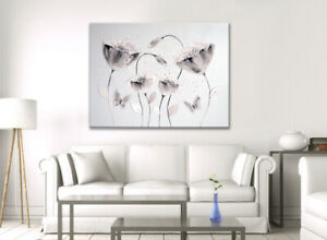 LARGE WHITE GREY JAPANESE FLOWER BUTTERFLY PICTURE ZEN CANVAS WALL ART PRINT NEW