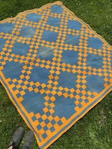 Antique Hand Stitched Double Irish Chain Quilt- Late 1800s! Rare Cheddar Fabric