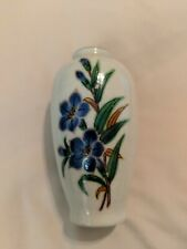 """Homco Small Hand Painted Vase. Blue Flowers. 4""""L, 2""""W. Japan."""