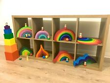 Wooden Rainbow Building Stacking educational Blocks balancing fun Montessori Toy