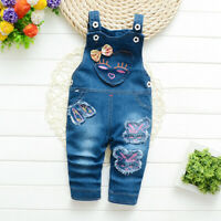 Toddler Baby Girl Casual Pants Clothes Infant Kids Girl Cartoon Denim Overalls