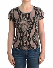 NWT $200 JUST CAVALLI Underwear Brown Snake Print T-Shirt Blouse Top IT48/US14