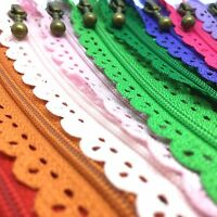 Floral Closed End Nylon Lace Zips - 15cms to 40cms Zippers