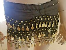 Gorgeous Black Belly Dance Dancing Hip Skirt Scarf Wrap Belt costume with 3 Rows
