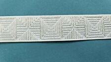 "3/4"" Silver White Geometric Brocade Jacquard Ribbon Vintage Doll Costume 5 yards"