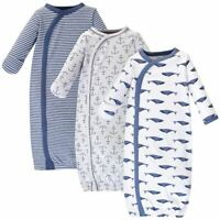 Touched By Nature Boy and Girl Organic Kimono Gown 3-Pack, Blue Whale