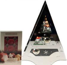 Large Christmas Tree Glass Candle Holder Ornament - Apple Cinnamon Tea Lights
