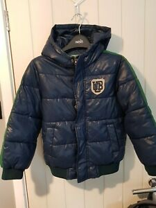 United colours of benetton boys navy blue and green coat VGC age 7-8