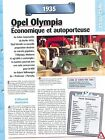 Opel Olympia 1935 GERMANY DEUTSCHLAND ALLEMAGNE Car Auto FICHE FRANCE