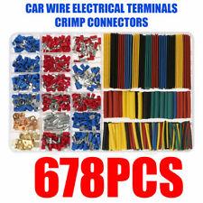 678 Pcs Insulated Terminals Crimp Connectors Car Electrical Wire Spade Set Kit