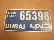 DUBAI ARABIC LATER EXPORT TYPE WHITE ON BLUE # 65398 RARE LICENSE PLATE
