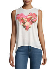 CHASER FLORAL HEART GRAPHIC MUSCLE TANK TOP VINTAGE JERSEY T SHIRT OPAL SZ S NW
