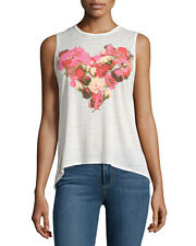 CHASER OPAL FLORAL HEART GRAPHIC MUSCLE TANK TOP VINTAGE JERSEY T SHIRT SZ S NW