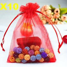 FD5272 Red Organza Bag Pouch For Jewellery Holidays Wedding X'mas Gift 10PCs