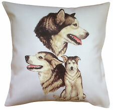 Alaskan Malamute Breed of Dog Group Cotton Cushion Cover - Perfect Gift